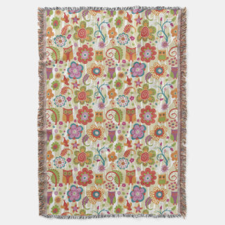 Color Floral and Owl Throw Blanket