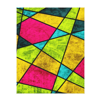Color glass abstract geometric neon canvas print