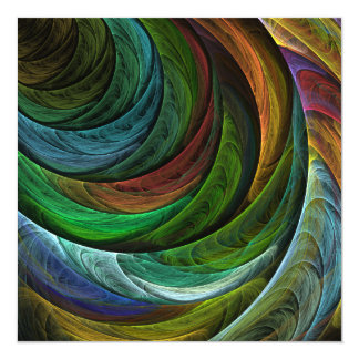 Color Glory Abstract Art 13 Cm X 13 Cm Square Invitation Card