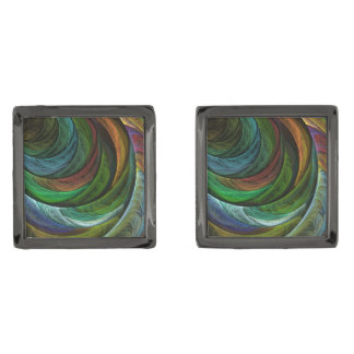 Color Glory Abstract Art Gunmetal Finish Cufflinks