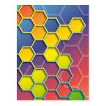 color graphic hexagon postkarten