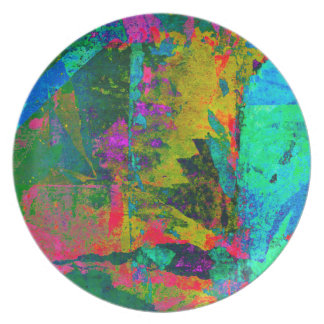 Color Grunge Design Party Plate