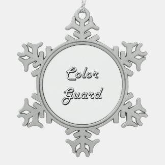 Color Guard Classic Retro Design Snowflake Pewter Christmas Ornament