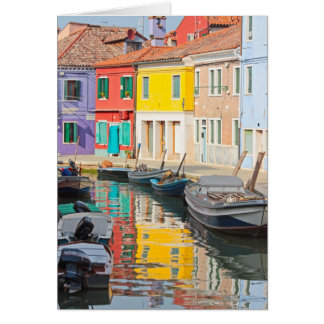 Color houses in Venice island Burano Italy Card