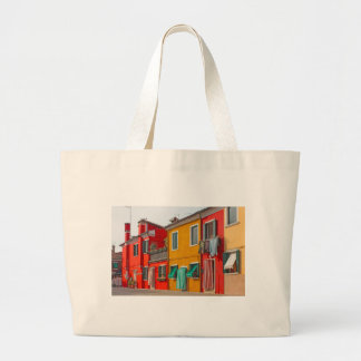 Color houses in Venice island Burano Italy Large Tote Bag