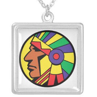 Color Indian Head Square Pendant Necklace