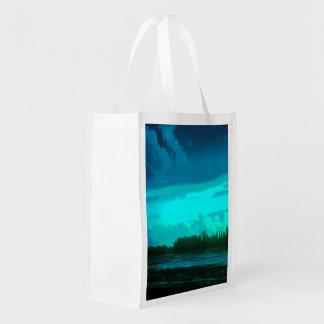 COLOR LANDSCAPE PHOTOGRAPH WITH BLUE SKY REUSABLE GROCERY BAG