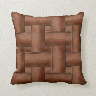 Color Leather Straps Overlap Design Pillow