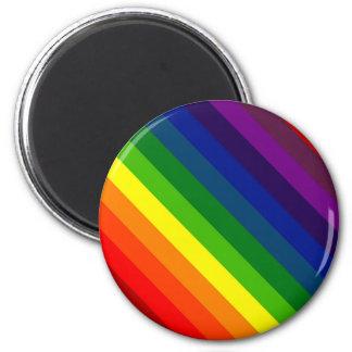 COLOR ME A RAINBOW (Striped design) ~ 6 Cm Round Magnet