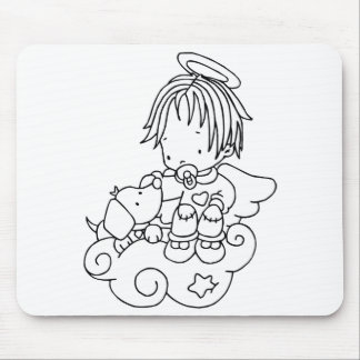 Color Me Angel Baby and Puppy Mousepad