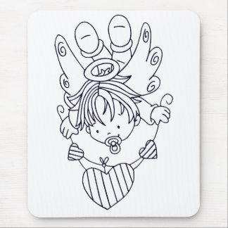 Color Me Angel Baby Heart String Mouse Pads