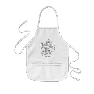 Color Me Angel Baby on Cloud with Heart Kids' Apron