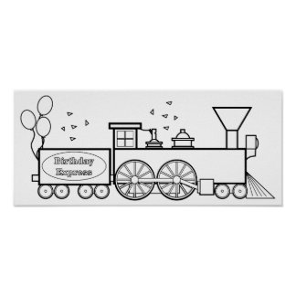 Color Me: Birthday Express Train Poster