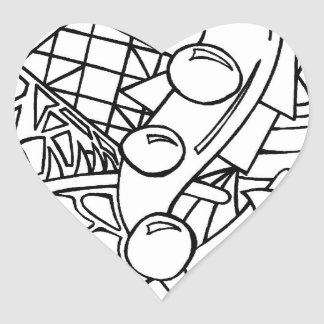 Color Me Black and White One Heart Sticker