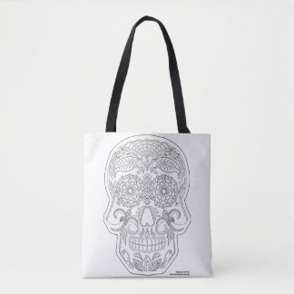 Color Me Day of the Dead Sugar Skull Zen Art Tote Bag