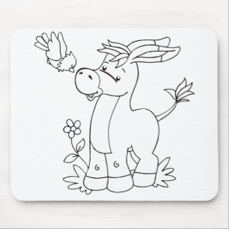 Color Me Donkey and Bird Mouse Mat
