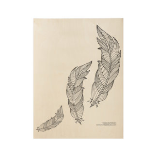 Color Me Feathers Fall Zen Doodle Illustration Wood Poster