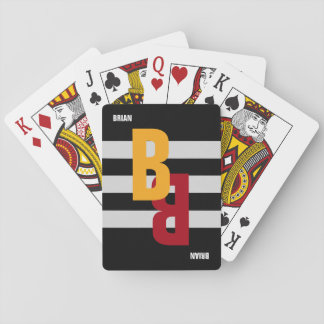 color monogram ( initial & name) on striped playing cards