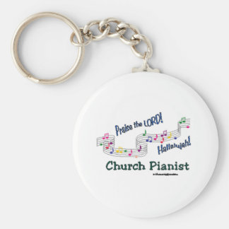 Color Notes Pianist Basic Round Button Key Ring