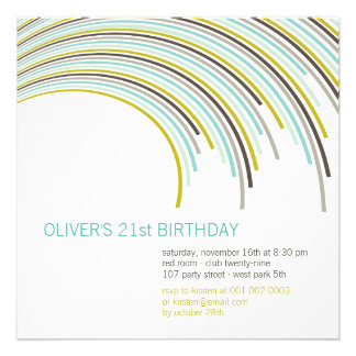Color Party Stripes 21st Birthday Invitation