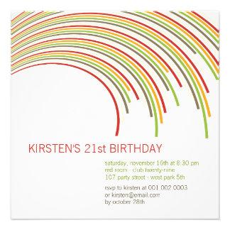Color Party Stripes 21st Birthday Invitation