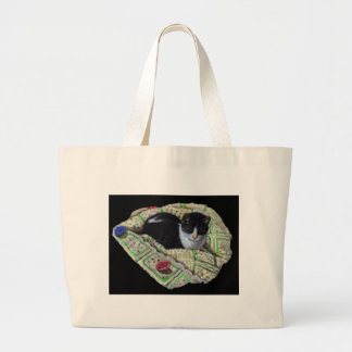 Color Pencil Drawing of Cat on Afghan, Napping Jumbo Tote Bag