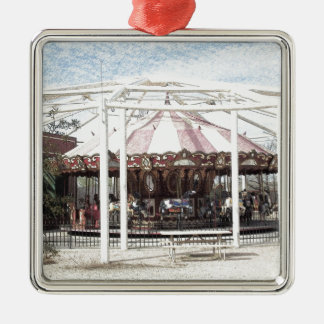 Color Pencil Sketch of Antique Carousel Silver-Colored Square Decoration