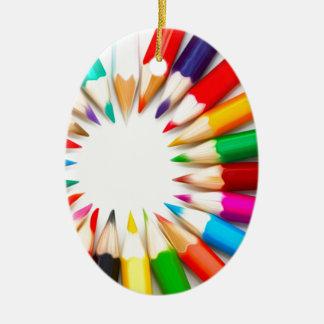 Color Pencils Ceramic Oval Decoration