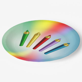 Color Pencils Paper Plate