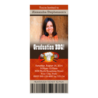 Color Photo Barbecue BBQ Graduation Party Ticket 4x9.25 Paper Invitation Card