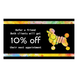 Color Poodle Referral Card Pack Of Standard Business Cards