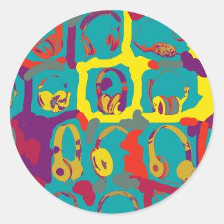 color pop art dj headphones classic round sticker
