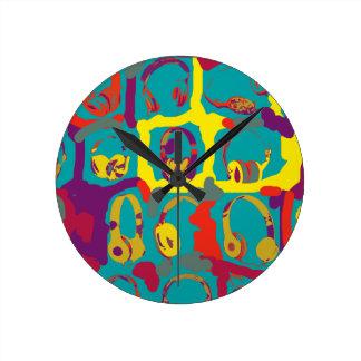 color pop art dj headphones round clock