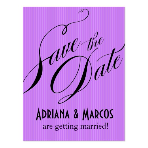 Color Pop Pinstripe Save the Date | lilac Post Card