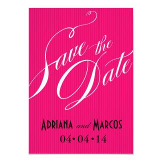 Color Pop Pinstripe Signature Save Date fuschia Personalized Invite