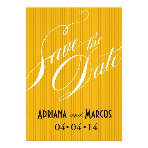 Color Pop Pinstripe Signature Save the Date golden Invitation