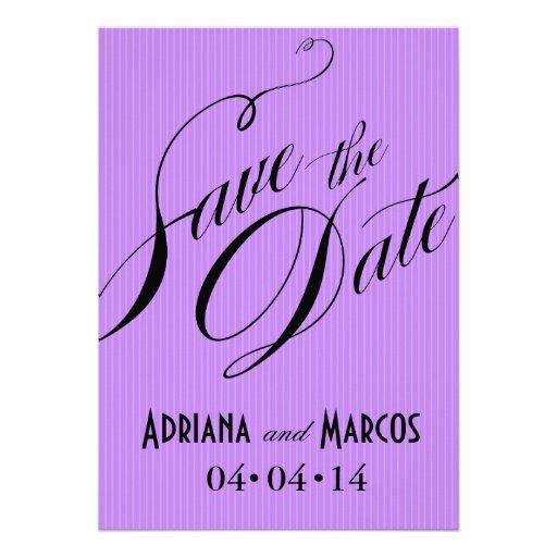 Color Pop Pinstripe Signature Save the Date lilac Personalized Invitation
