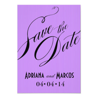 "Color Pop Pinstripe Signature Save the Date lilac 5"" X 7"" Invitation Card"