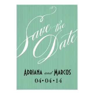 Color Pop Pinstripe Signature Save the Date mint Invitations