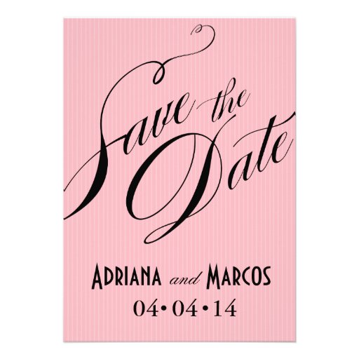 Color Pop Pinstripe Signature Save the Date pink Invitations