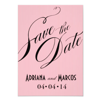 """Color Pop Pinstripe Signature Save the Date pink 5"""" X 7"""" Invitation Card"""