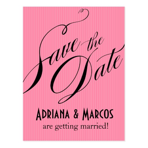 Color Pop Pinstripe Signature Save the Date | pink Postcards