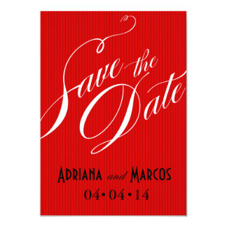 """Color Pop Pinstripe Signature Save the Date red 5"""" X 7"""" Invitation Card"""