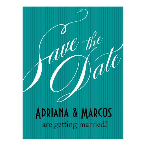 Color Pop Pinstripe Signature Save the Date | teal Post Cards