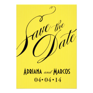 Color Pop Pinstripe Signature Save the Date yellow Personalized Announcement
