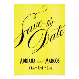 """Color Pop Pinstripe Signature Save the Date yellow 5"""" X 7"""" Invitation Card"""