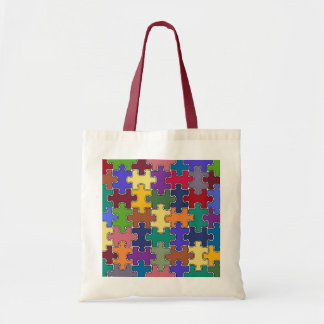 color puzzle pieces tote bag