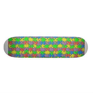 Color puzzle skateboard deck