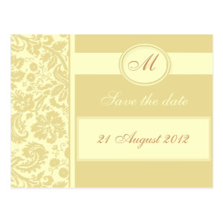 Color Select Monogram Damask Save the Date Postcard