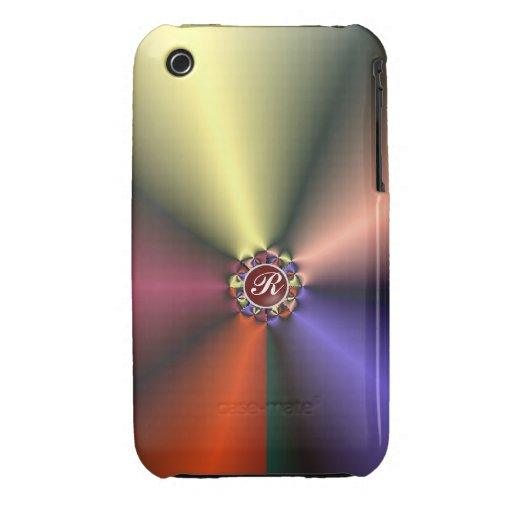 Color Silk Fabric with Monogram  iPhone 3G/3GS Case-Mate iPhone 3 Case